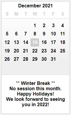 December 2021 OCGA Master Training Calendar