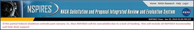 Image showing that NSPIRES will be unavailable if federal shutdown extends past January 31